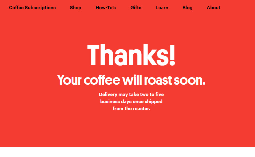 Trade Coffee Subscription Confirmation - Subscription Box Expert